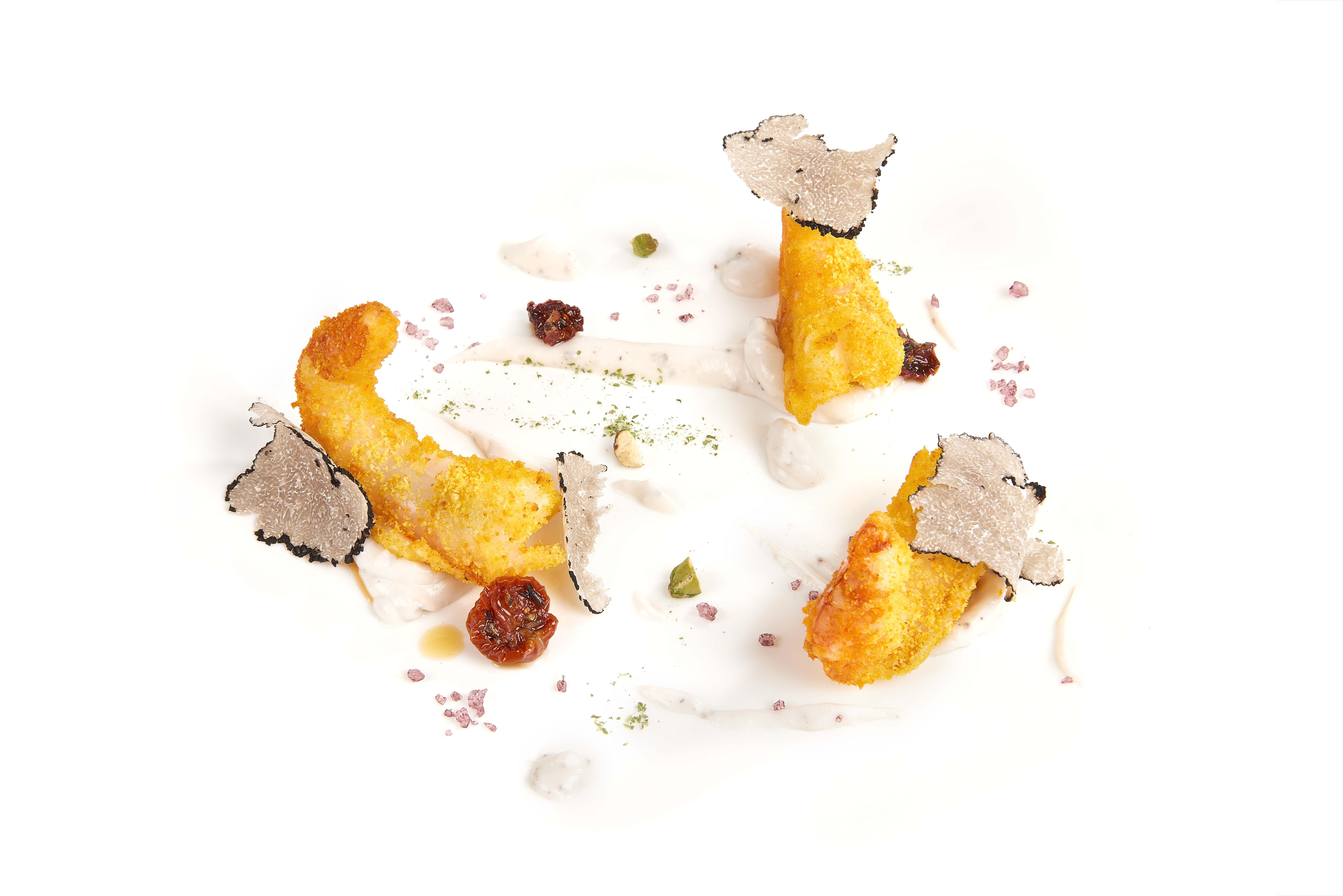 Gamberi in panura di zafferano con maionese vegana al Tartufo Nero